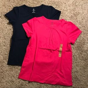 Girl's Lands' End size 10/12 navy and pink shirts